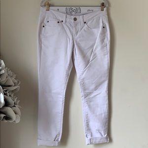 SO Juniors Low Rise White Skinny Jeans Sz 9